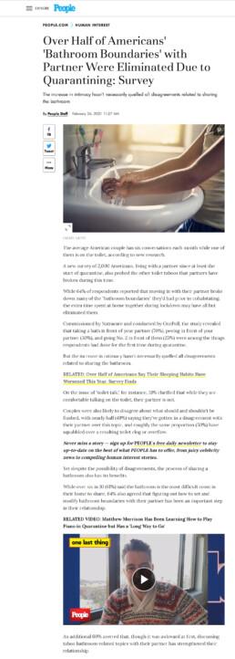 Screenshot of People.com Natracare media coverage