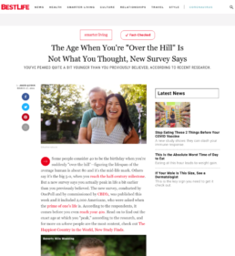 Screenshot of Best Life CBDfx survey story coverage