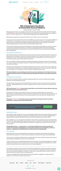 A screenshot of a 'Financial Fears' blog post by Cushion.ai
