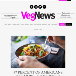 Veg News coverage of Herbalife Pandemic Diet Decisions research